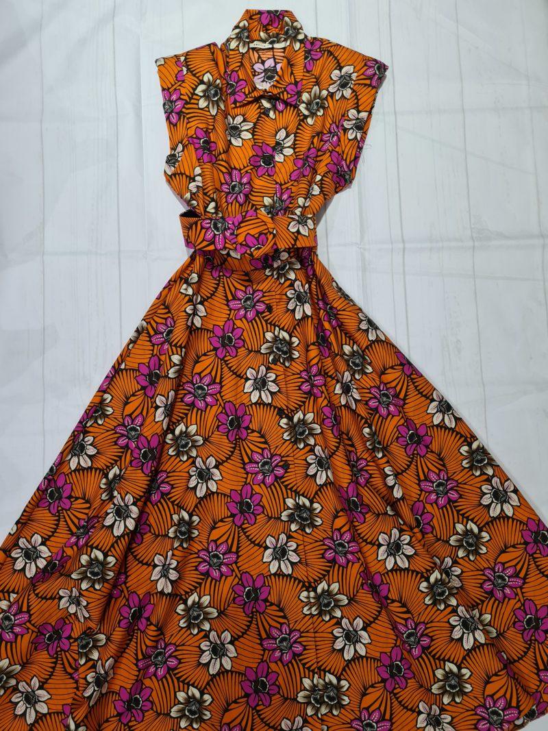 abito lungo in cotone con fiori